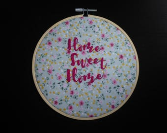 """Hand embroidered 'Home Sweet Home' 6"""" decorative hoop"""