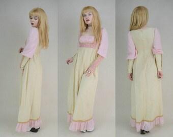 70s Gunne Sax Pink Cream Mutton Sleeve Medieval Princess Maxi Dress XS