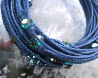 Blue Linen Bracelet Sparkling Glass Eco Friendly Organic Jewelry Irish Waxed Linen Multistrand Valentine's Day Gift for Her Cobalt