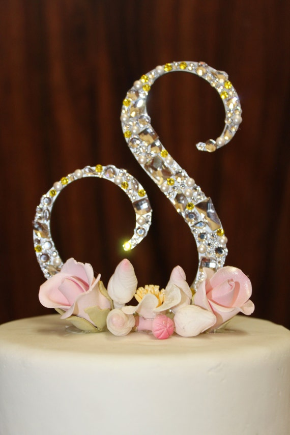 5 swarovski crystal monogram cake topper any letter from like this item thecheapjerseys Image collections