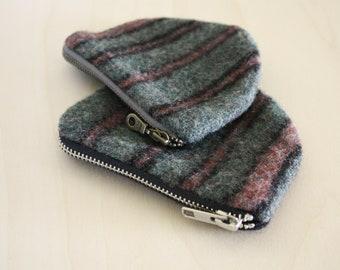 Wool Wallet / Coinpurse / Zipper Pouch in Watermelon Green and Pink Stripe / Wool Coinpurse by True Having
