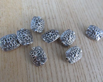 "Tibetan bead shape ""rectangular"" 13x11mm metal color:"