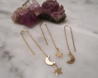 MOON + STAR THREADERS, Threader earrings, gold filled threaders, moon earrings, star earrings, gold earrings, gifts for her