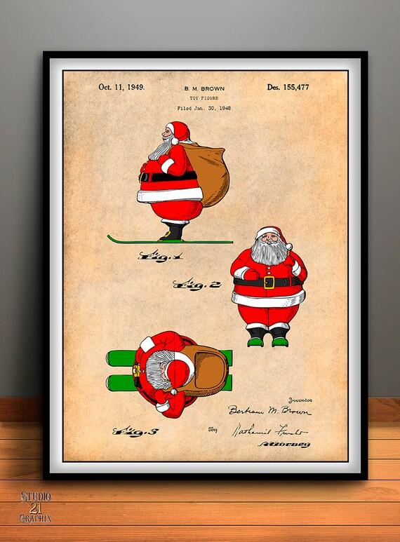 1948 Colorized Santa Claus Patent Print Nursery Wall Art