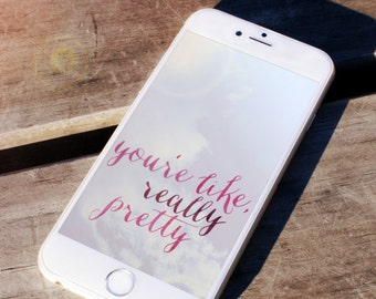 Youre Like Really Pretty Mean Girls Quotes Pink Watercolor Girly Iphone 6 Wallpaper Background Android Digital File