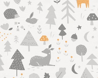 Light Orange and Silver Gray Baby Woodland Organic Fabric - By The Yard - Boy / Girl / Gender Neutral