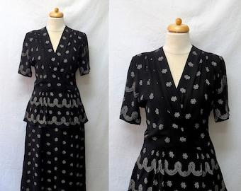 1940s Vintage Peplum Waist Crepe Dress / Black & White Floral Polka Dot Dress