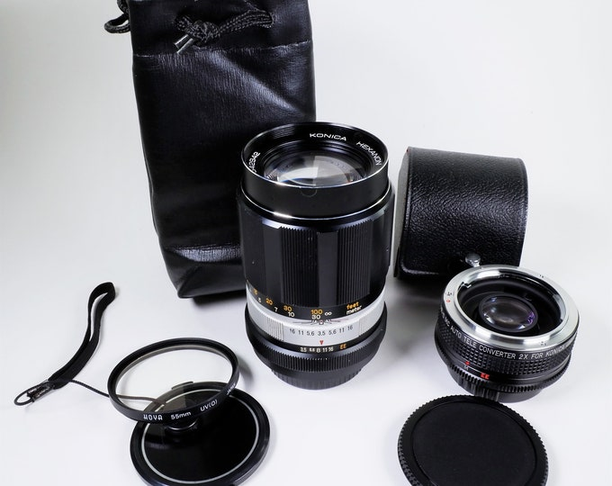Konica Hexanon f3.5 135mm Telephoto Lens with Case, Filter, Caps and 2X Tele-Converter - Super Clean and Sharp - Includes Konica T4 Booklets