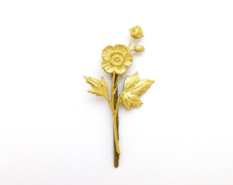 Gold Flower Hair Clip Bridal Bobby Pin Floral Accessories Fairy Elf Garden Nature Vintage Style Botanical Romantic Womens Gift For Her