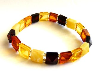 """Baltic Amber Jewelry Bracelet Multicolor """"Diamond Cut"""" Natural Faceted"""