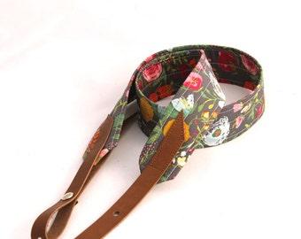 Botanical Garden Mandolin Strap with Leather Adjustable Ends