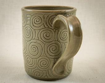 Hand Carved Pottery Mug - 14 oz Stoneware Coffee Cup - Carved Tea Mug - One of a Kind Tea Cup -  Ceramic Mug