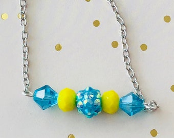 Bar Necklace, Yellow/Turquoise Blue Beaded Bar Necklace, Sparkly Jewelry