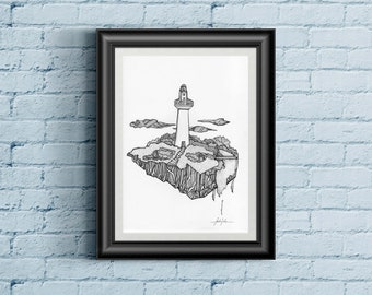 Floating Lighthouse - hand drawn artwork