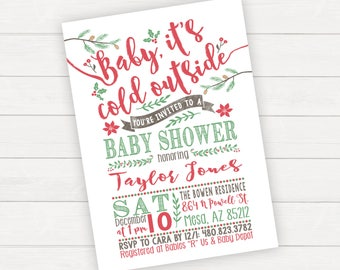 Holiday christmas baby shower invitation its a boy christmas baby shower invitation winter baby shower invitation christmas baby shower invite baby its cold outside filmwisefo Choice Image