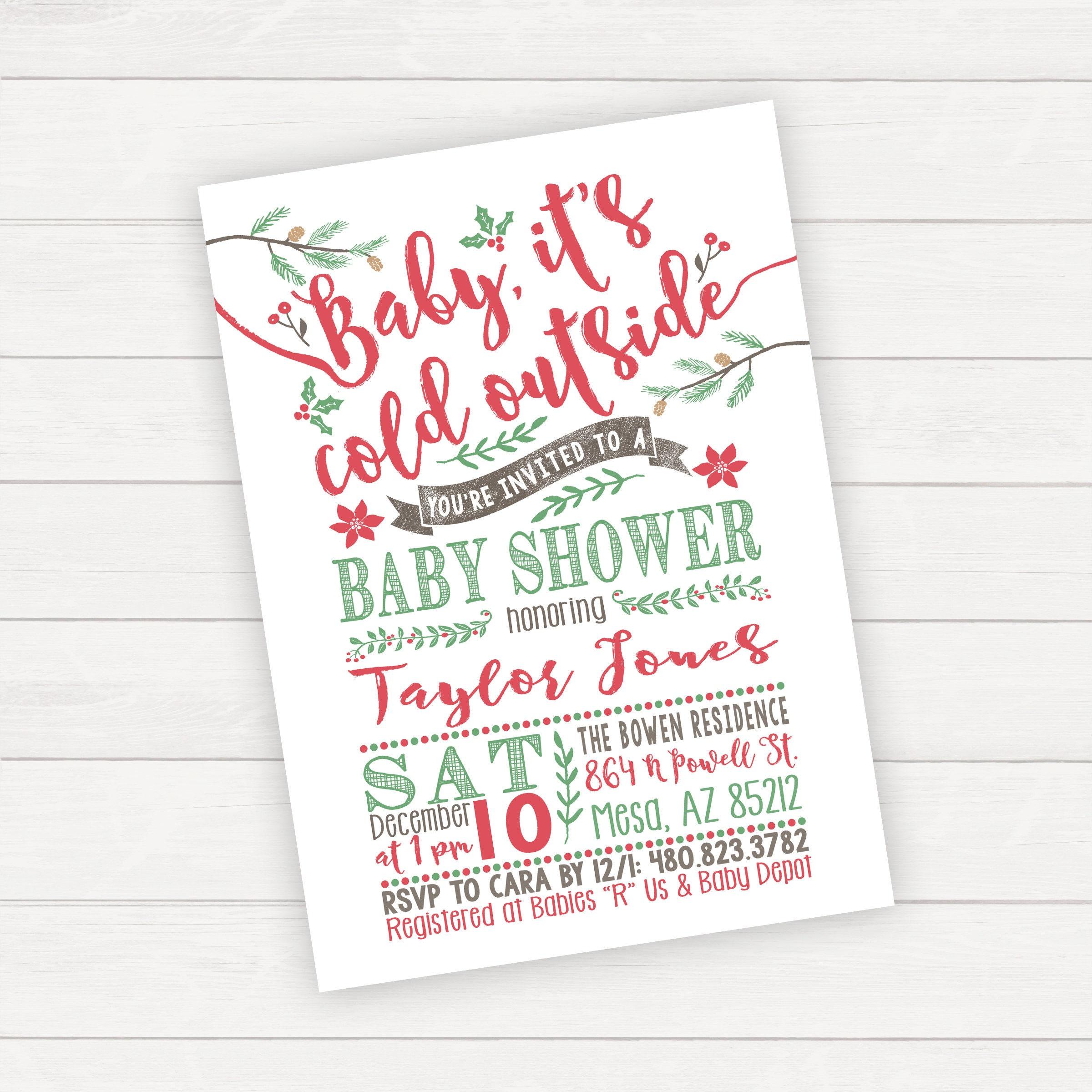 Christmas Baby Shower Invitation Winter Baby Shower Invitation