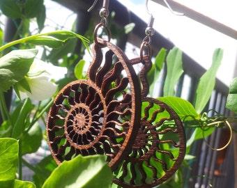 Ammonite Lasercut Wood Earrings - Nautilus