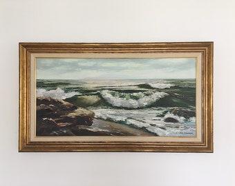 Large Vintage Original Artwork Seascape Oil on Canvas Painting / Framed and Signed