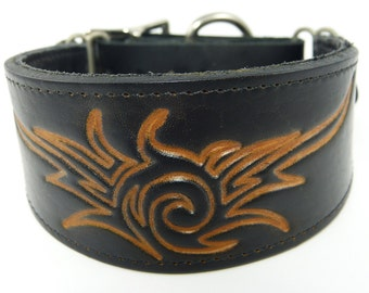 Stamped Tribal Splash Adjustable leather martingale collar