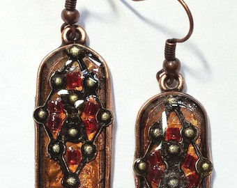 Stained Glass Medieval Arch Earrings
