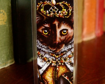 Queen Elizabeth Cat Bookmark, Tudor Cats, Laminated Paper Bookmark