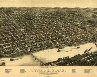 Map of Little Rock, Arkansas 1887; Antique Birdseye Map; Custom Printed