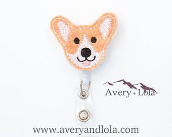 Corgi Badge Reel, Dog Badge Reel, Corgi ID Holder, Dog ID Holder, ID Badge Holder