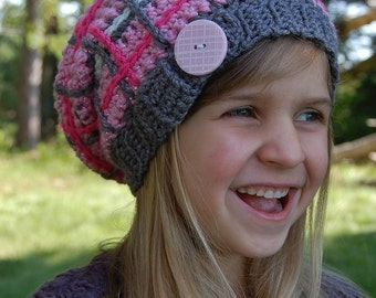 "Crochet Pattern: ""Perfectly Plaid"" Slouch Hat, Permission to Sell Finished Items"
