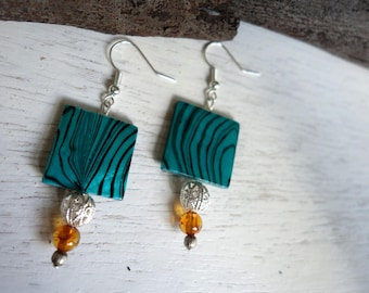 Turquoise and amber shell earrings