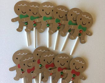 Gingerbread Men Cupcake Toppers, Christmas Cupcake Toppers, Holiday Cupcake Toppers, Christmas Cupcakes, Holiday Cupcakes, Gingerbread Men