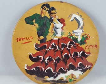 Vintage Hand Painted Flamenco Dancers on Wood Wall Plate