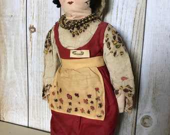 Antique 18th Century Cloth Rag Doll - Ruthenian Painted Face Cloth Doll