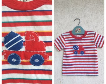 Vintage Kids Toddler Cement Truck T Shirt 1980s Striped Primary Colored Tshirt Toddler 2T-3T