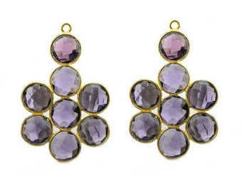 Amethyst Gemstone Bezel Component, Gold Plated Connector, Bezel Setting, 24k Gold Plated, Boho Jewelry Supply, GemMartUSA (GPAM-13001)