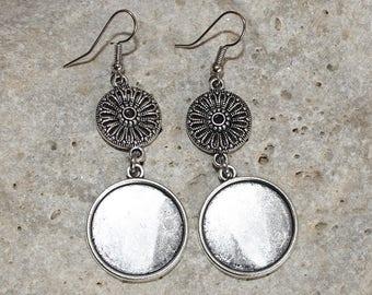 medium round cabochon 20 mm Silver earrings