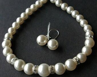 Wedding Jewelry Set, Swarovski Pearl Bridal Necklace SET, SImple Bridal Jewelry Set, Pearl Necklace and Earrings SET, GRACE