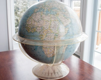 1960's Vintage 12 Inches Terrestrial National Geographic Globe - Lucite Cradle/Stand, Map, Blue, Melville Bell Grosvenor Edition