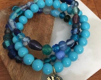 Blue Stacked Bracelets