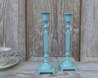 Aqua Painted Candlesticks