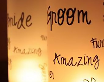 Wedding Candle Luminary - Wedding Candles - Wedding Table Decor - Word Cloud Art Luminaries - Wedding Luminary - Wedding Sign