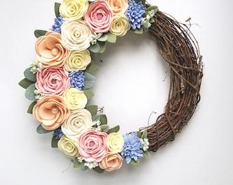 Front Door Wreath - Felt Flower Wreath - Grapevine Wreath - 14 Inch Wreath - Spring Wreath - Summer Wreath - Modern Wreath - Floral Wreath