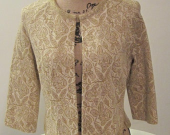 50's 60's Vintage Sweater Cardigan Jacket Gold and Cream Floral Mettalic 3/4 Kimberly S M