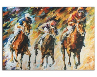 Horse Racing Art 'Instant of Success' Metal Giclee Modern Race Track Artwork, Colorful Abstract Horses & Jockey Wall Decor by Leonid Afremov