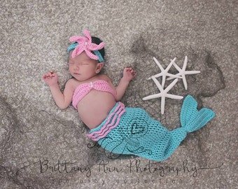 Newborn Turquoise Mermaid Tail Halloween Costume, 0 to 3 month Pink and Turquoise Mermaid Photo Prop