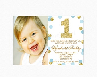 Blue and Gold Birthday Party Invitation, Gold Glitter, Gold Polka Dot Invitations,1st Birthday, Printable or Printed