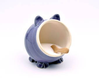 Purple Ceramic Salt Pig for your countertop - traditional salt pig - great gift for a cook or foodie!