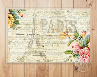 Paris Placemat, Vintage Floral and Paris Style Laminated Placemat, Decorative Place Mat For Table, House Gift by Woodland Crew