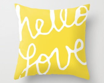 Hello Love Graphic Pillow  - Yellow and White Modern Throw Pillow - Typography Home Decor - Nursery Accent Pillow - By Aldari Home