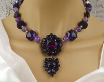 Statement Necklace-Romantic-Gothic Wedding-Black-Purple-Wedding Necklace-Vintage Brooch Necklace-Redesign-Drop Pendant-Magnetic Clasp