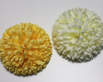 Pom Pom Flower Hair Clip / Fascinator in a choice of Cream or Yellow